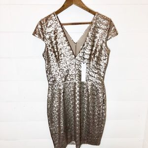 NWT Dress the Population Gold Sequin Dress